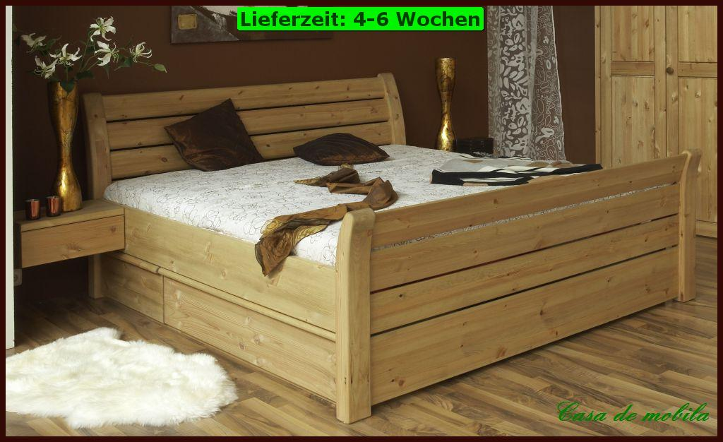massivholz bett mit bettkasten kiefer schubladenbett bett 160x200 funktionsbett ebay. Black Bedroom Furniture Sets. Home Design Ideas