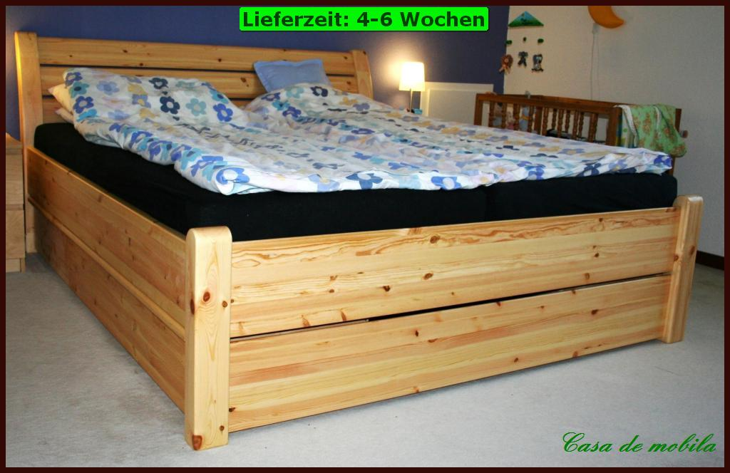 doppel bett schubkasten funktions 200x200 schubladen futon holz kiefer massiv ebay. Black Bedroom Furniture Sets. Home Design Ideas