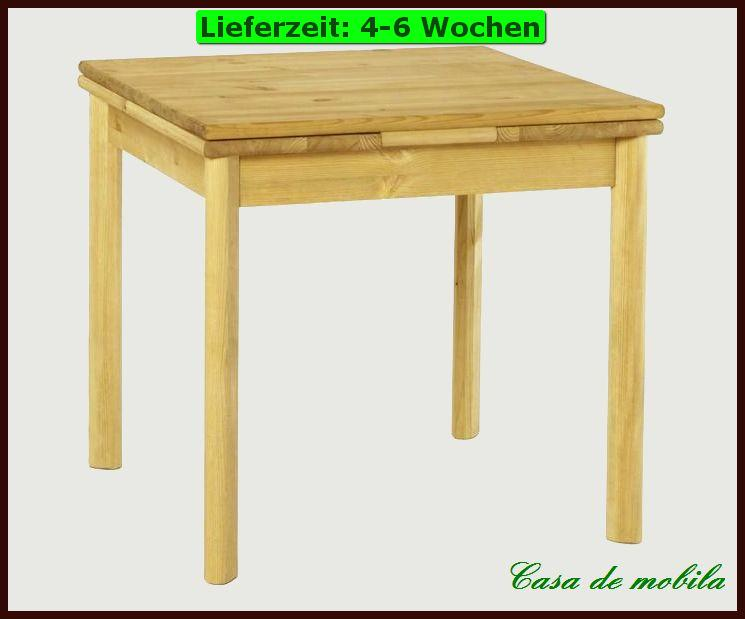 esstisch tisch 80x80 ausziehbar k chen holz kiefer massiv wei ebay. Black Bedroom Furniture Sets. Home Design Ideas