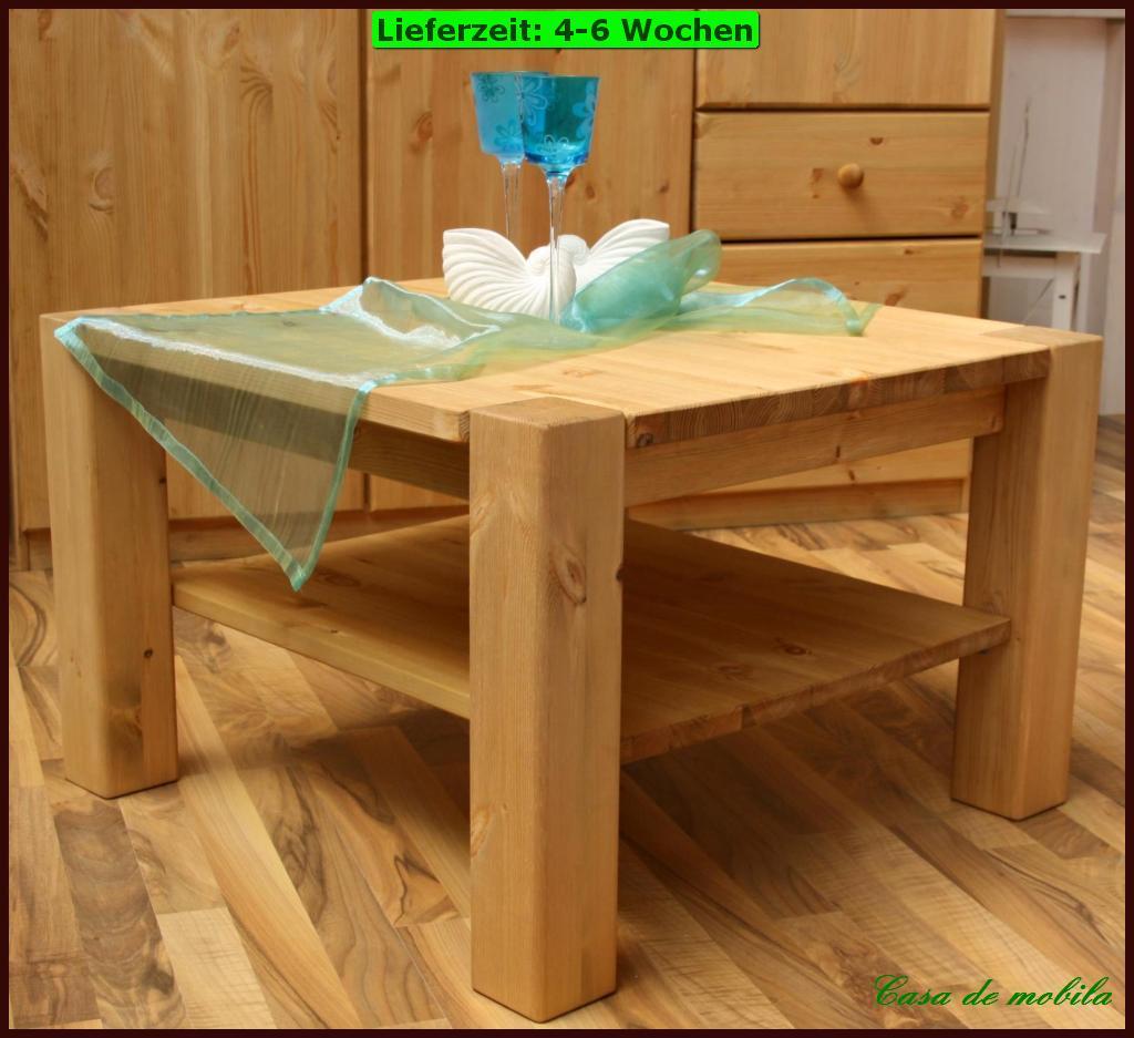 Massivholz couchtisch 74x74 wohnzimmertisch beistelltisch for Massivholz wohnzimmertisch