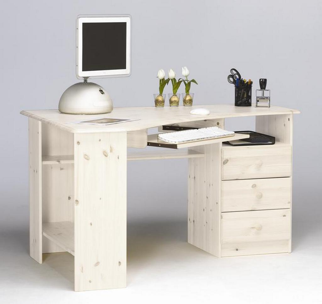 eckschreibtisch winkel schreibtisch eck computertisch holz kiefer massiv wei ebay. Black Bedroom Furniture Sets. Home Design Ideas