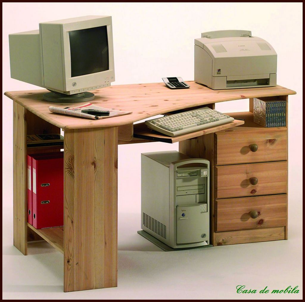 schreibtisch pc eckschreibtisch eck computertisch holz kiefer massiv lackiert ebay. Black Bedroom Furniture Sets. Home Design Ideas