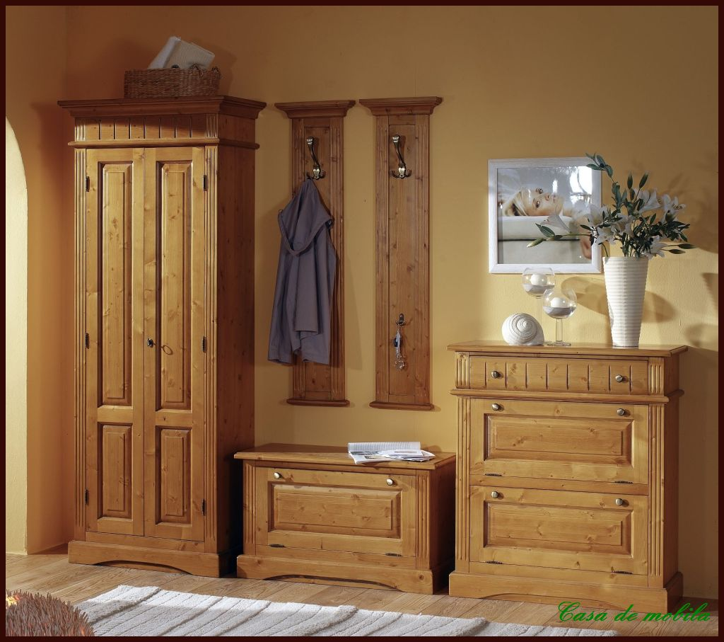 garderoben set flurgarderobe flurm bel komplett dielen massiv holz landhaus ebay. Black Bedroom Furniture Sets. Home Design Ideas