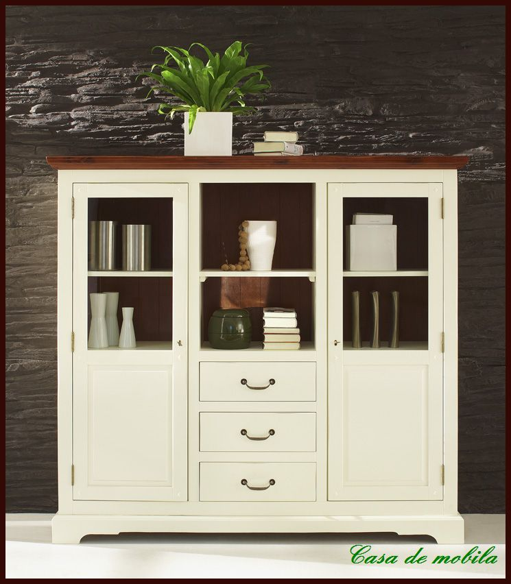 highboard buffet vitrine esszimmer akazie wei ebay. Black Bedroom Furniture Sets. Home Design Ideas