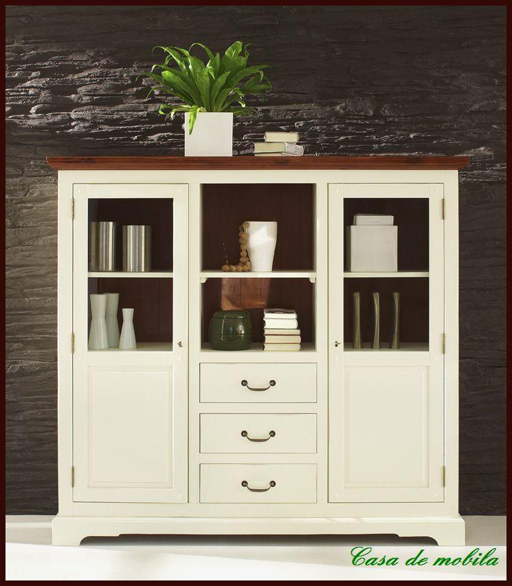 highboard buffet vitrine esszimmer akazie wei ebay. Black Bedroom Furniture Sets. Home Design Ideas