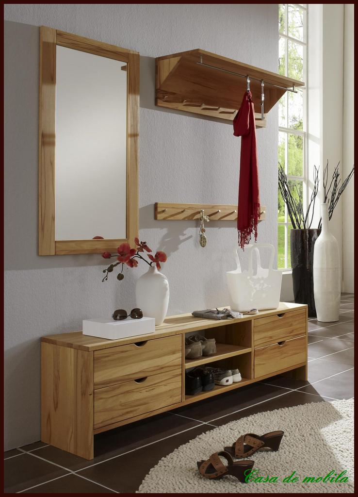 wandgarderobe garderobe garderoben set flur m bel buche kernbuche massiv holz ebay. Black Bedroom Furniture Sets. Home Design Ideas