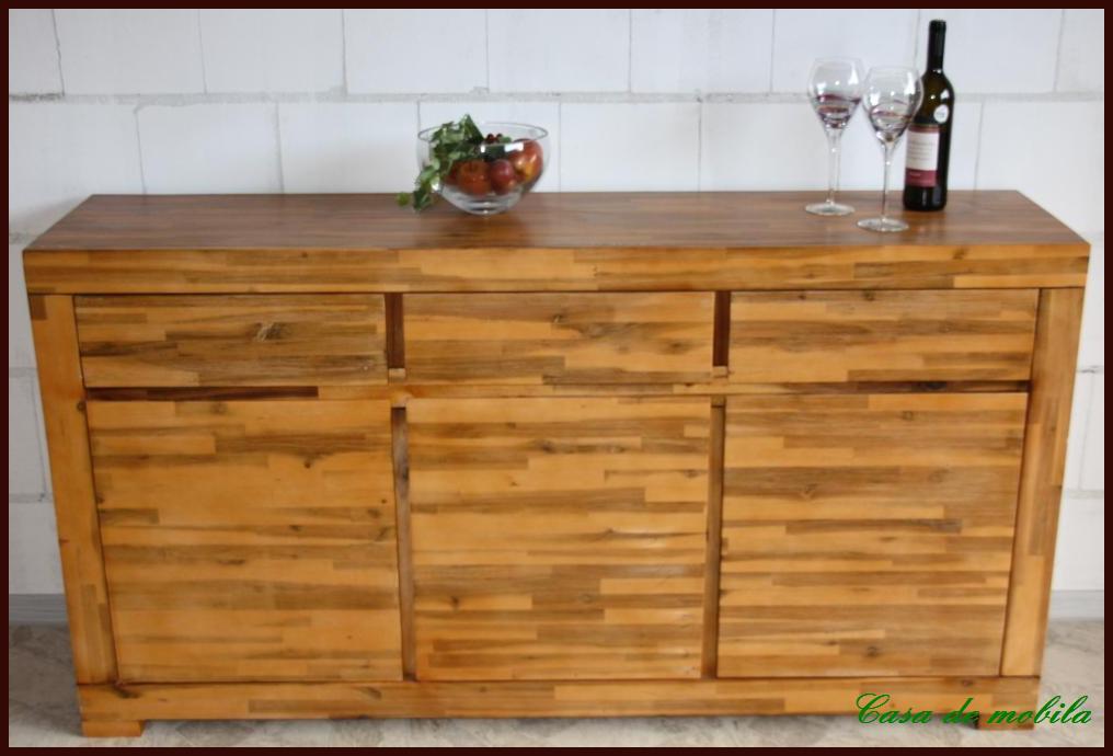 Vollholz anrichte sideboard kommode tecky akazie massiv for Sideboard vollholz