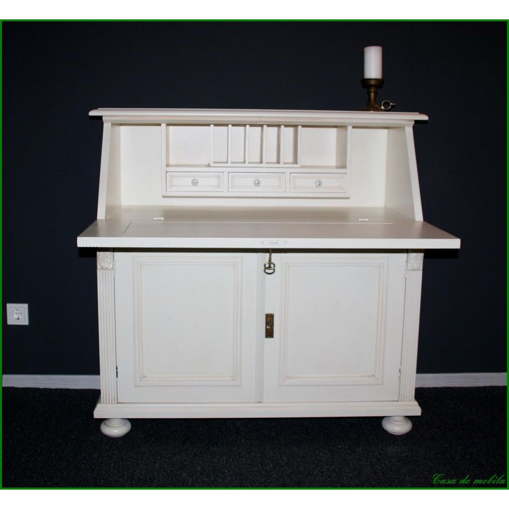 massivholz sekret r fichte massiv wei lackiert vollholzm bel schreibschrank ebay. Black Bedroom Furniture Sets. Home Design Ideas