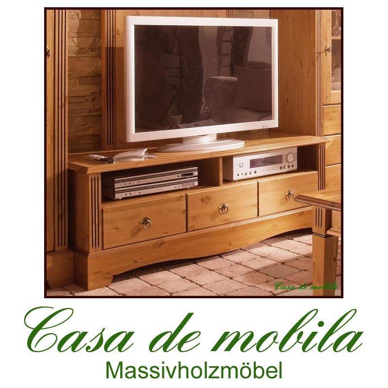 tv lowboard tv m bel phono kommode fernseher schrank massiv holz kiefer honig ebay. Black Bedroom Furniture Sets. Home Design Ideas