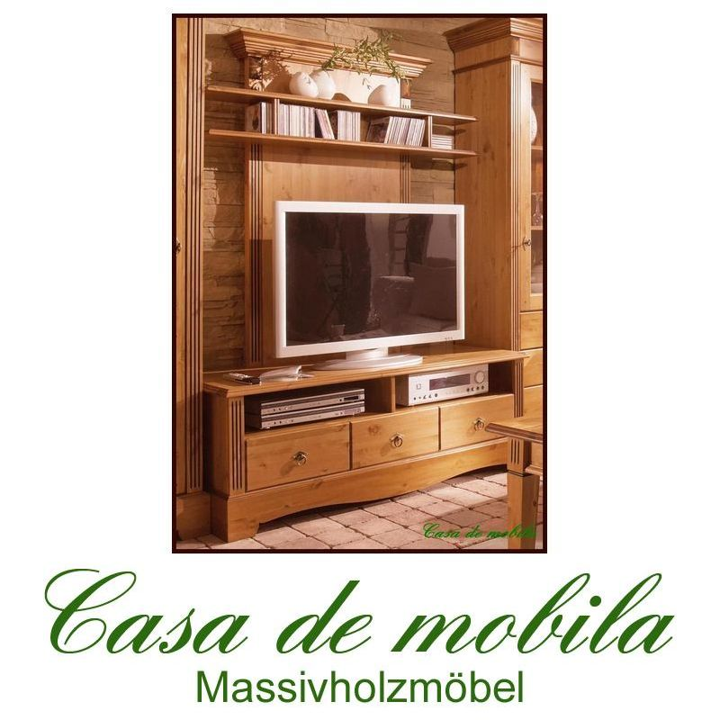 massivholz tv lowboard medienpaneel schrank holz kiefer massiv honig tv kommode ebay. Black Bedroom Furniture Sets. Home Design Ideas