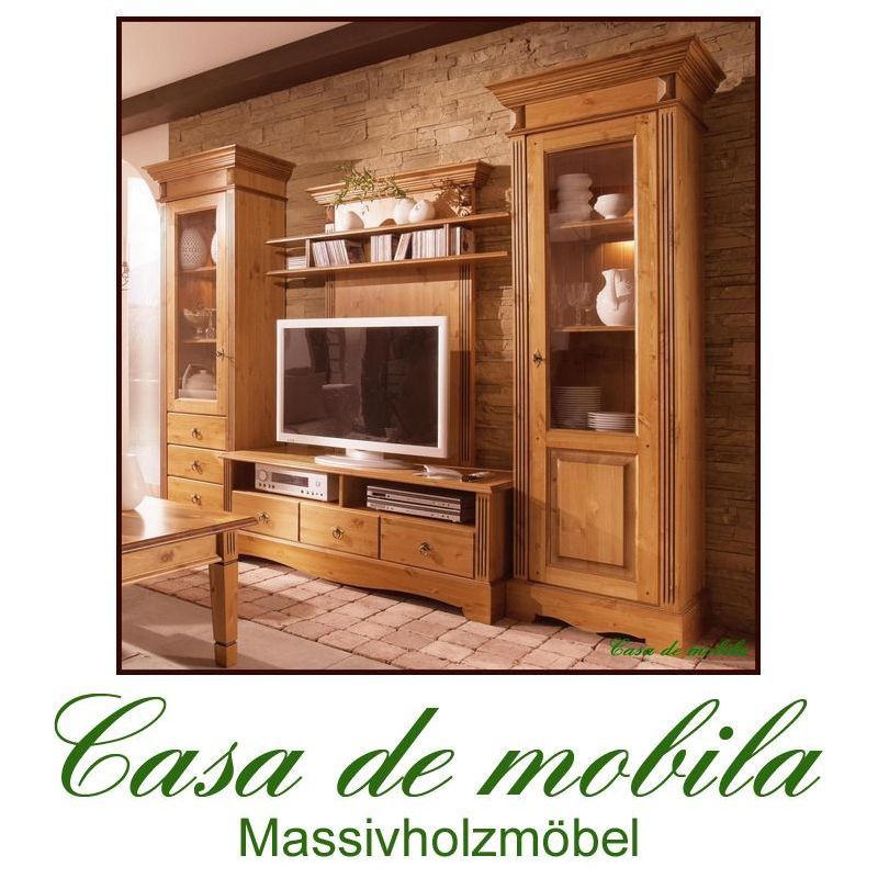 massivholz wohnwand wohnzimmerschrank holz kiefer massiv goldbraun anbauwand ebay. Black Bedroom Furniture Sets. Home Design Ideas