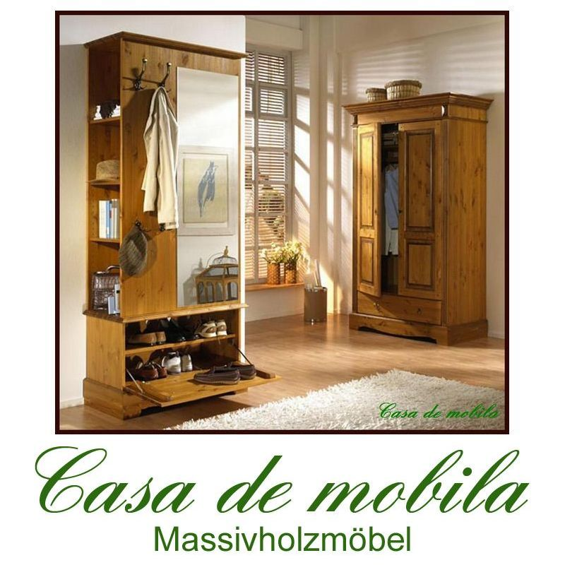 massivholz dielenm bel set garderoben holz kiefer massiv honig gelaugt flurm bel ebay. Black Bedroom Furniture Sets. Home Design Ideas
