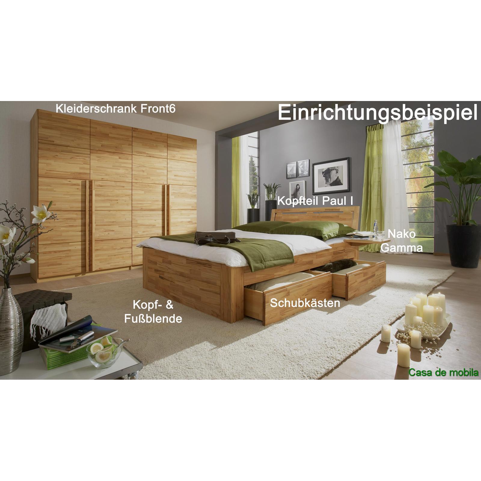 schubladenbett kernbuche massiv caro 200x200 bett mit schubladen. Black Bedroom Furniture Sets. Home Design Ideas