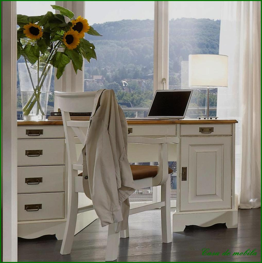 massivholz schreibtisch kiefer massiv honig weiss landhaus pc computertisch holz. Black Bedroom Furniture Sets. Home Design Ideas