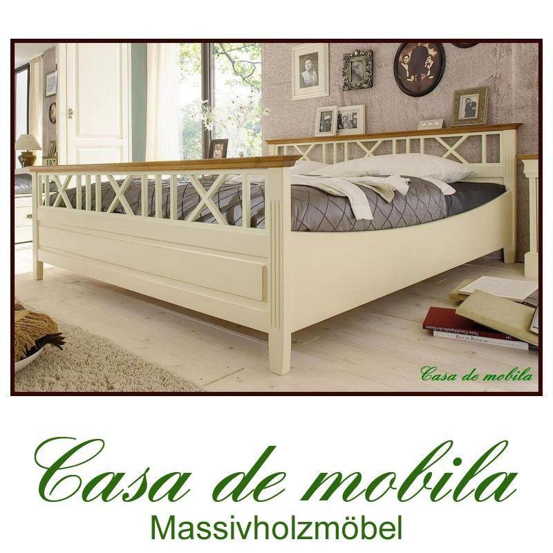 pin doppelbett kiefer massiv weiss honig bett landhaus 140. Black Bedroom Furniture Sets. Home Design Ideas