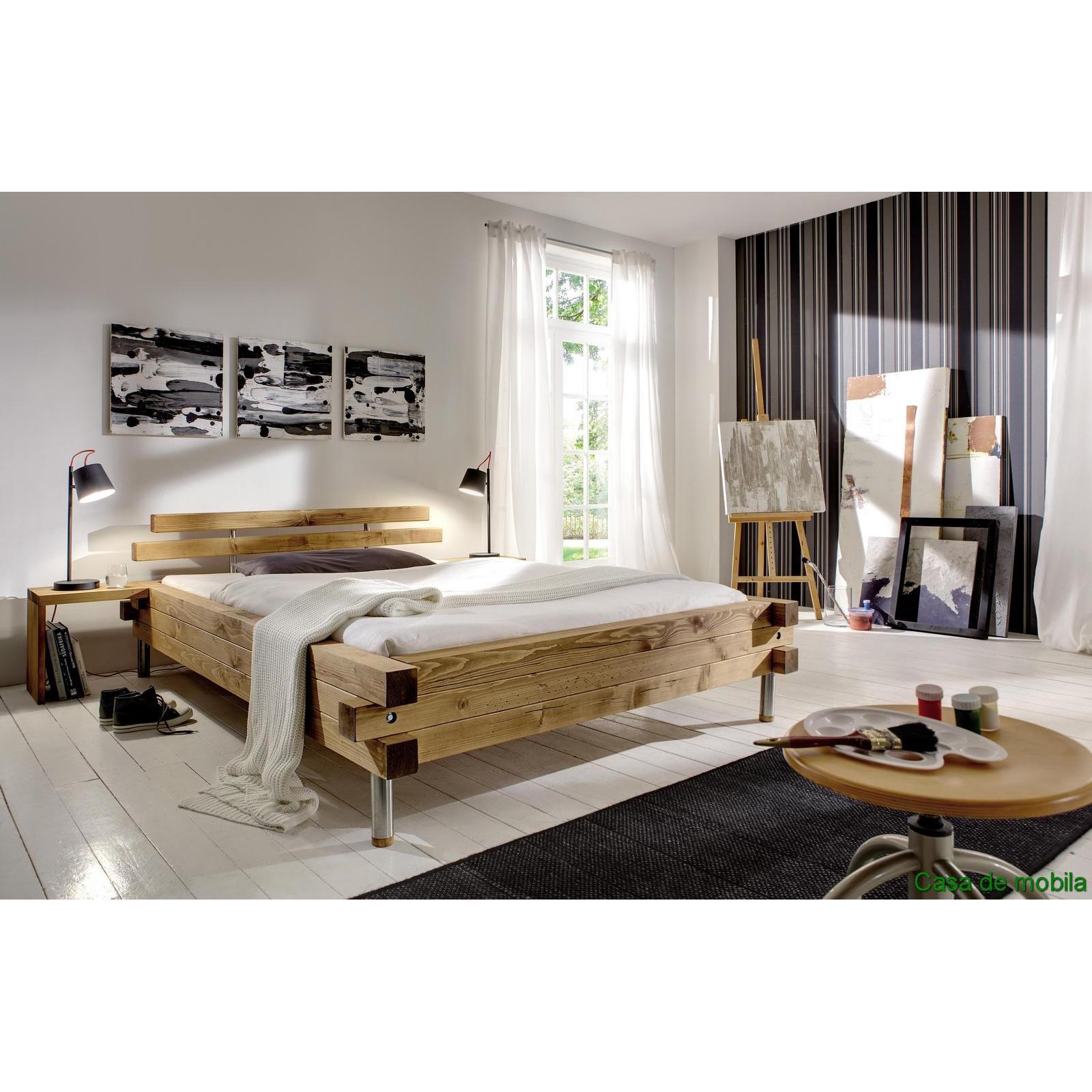 Bett 180x200 balkenbett rustikal doppelbett wildeiche for Bett 180x200