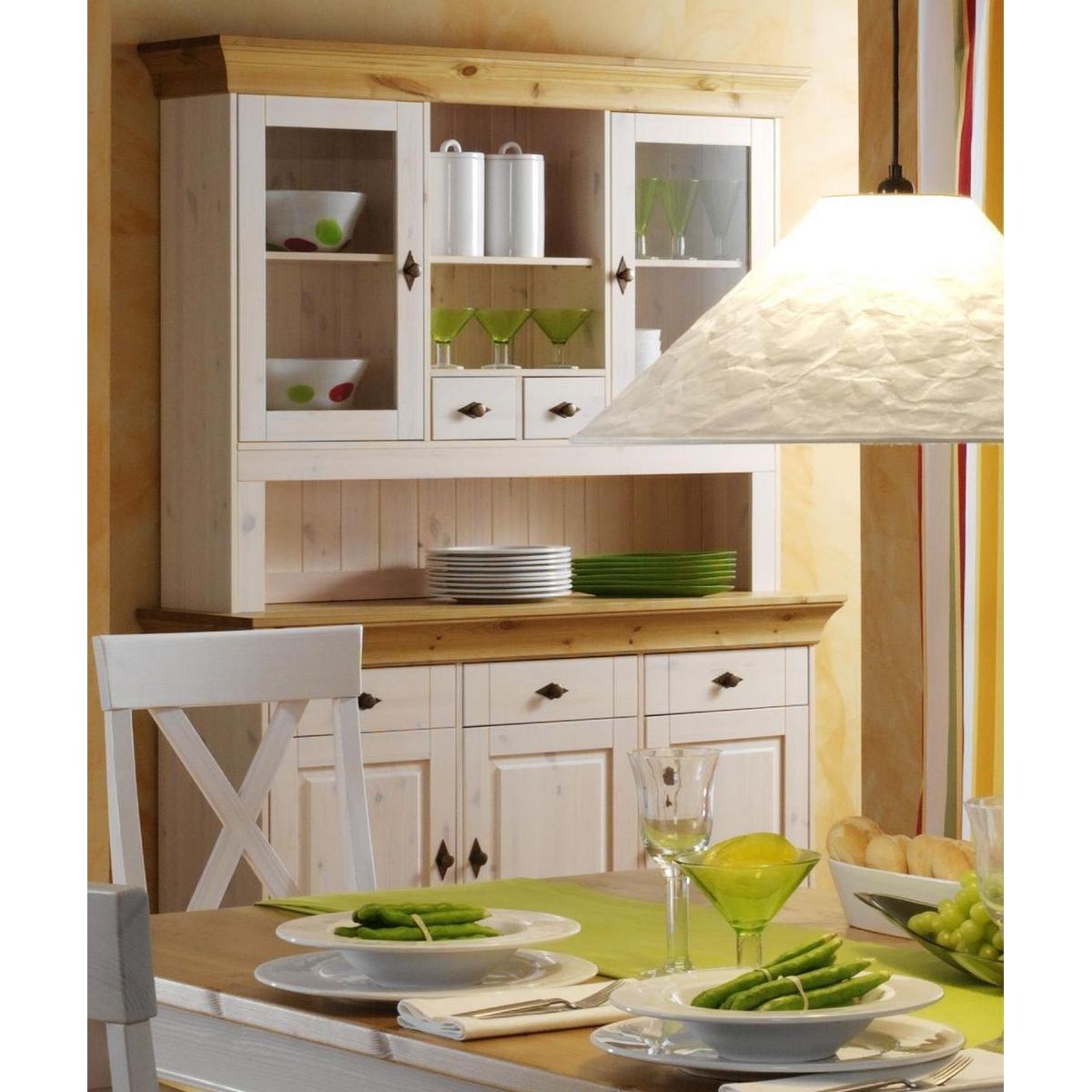 Schlafzimmer Kiefer Massiv Weis Gebeizt : ... Buffetschrank Bergen - Holz Kiefer massiv 2-farbig weiß - gebeizt