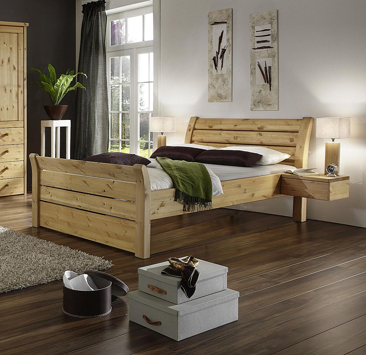vollholz doppelbett landhausstil kiefer massiv gelaugt ge lt 180 x 200 cm. Black Bedroom Furniture Sets. Home Design Ideas