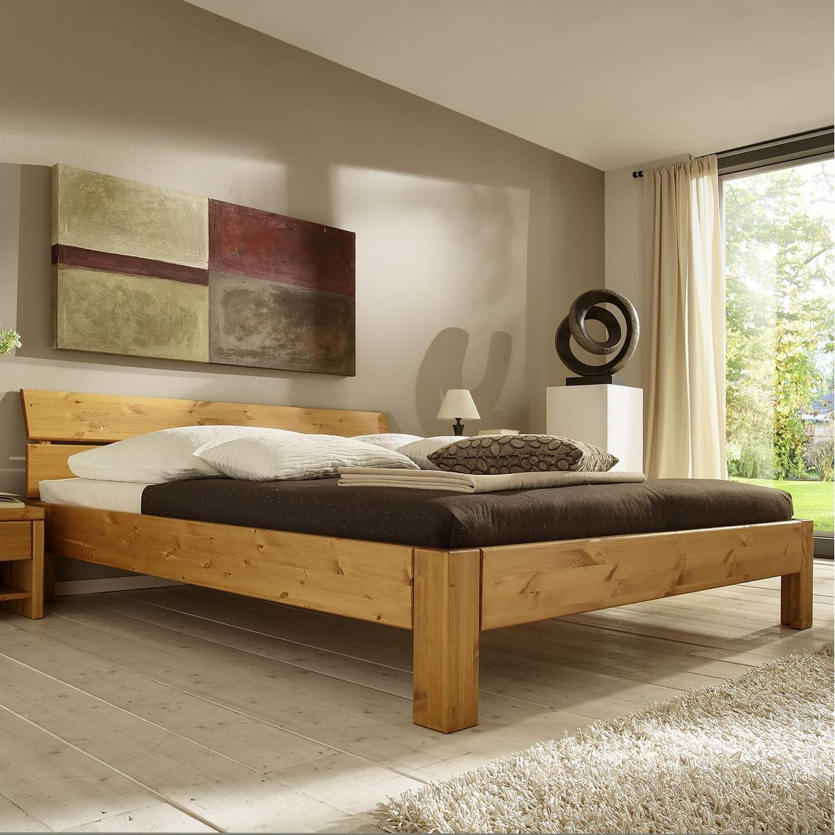 massivholz bett 180 200 holzbett mit bettkasten kiefer. Black Bedroom Furniture Sets. Home Design Ideas