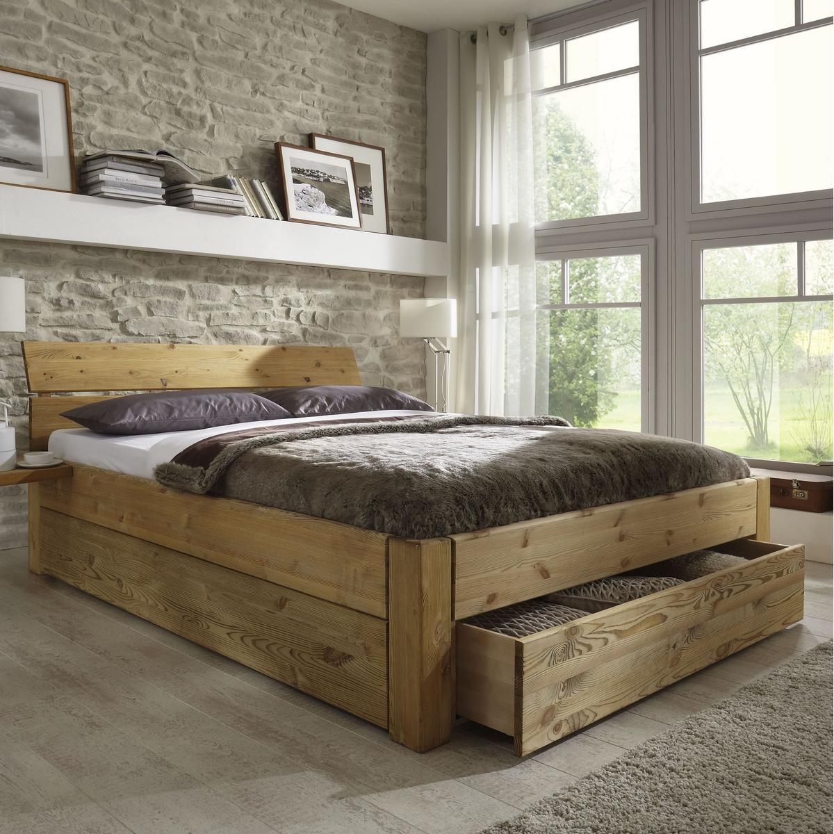 Massivholz Schubladenbett 180x200 Holzbett Bett Kiefer massiv gelaugt ...