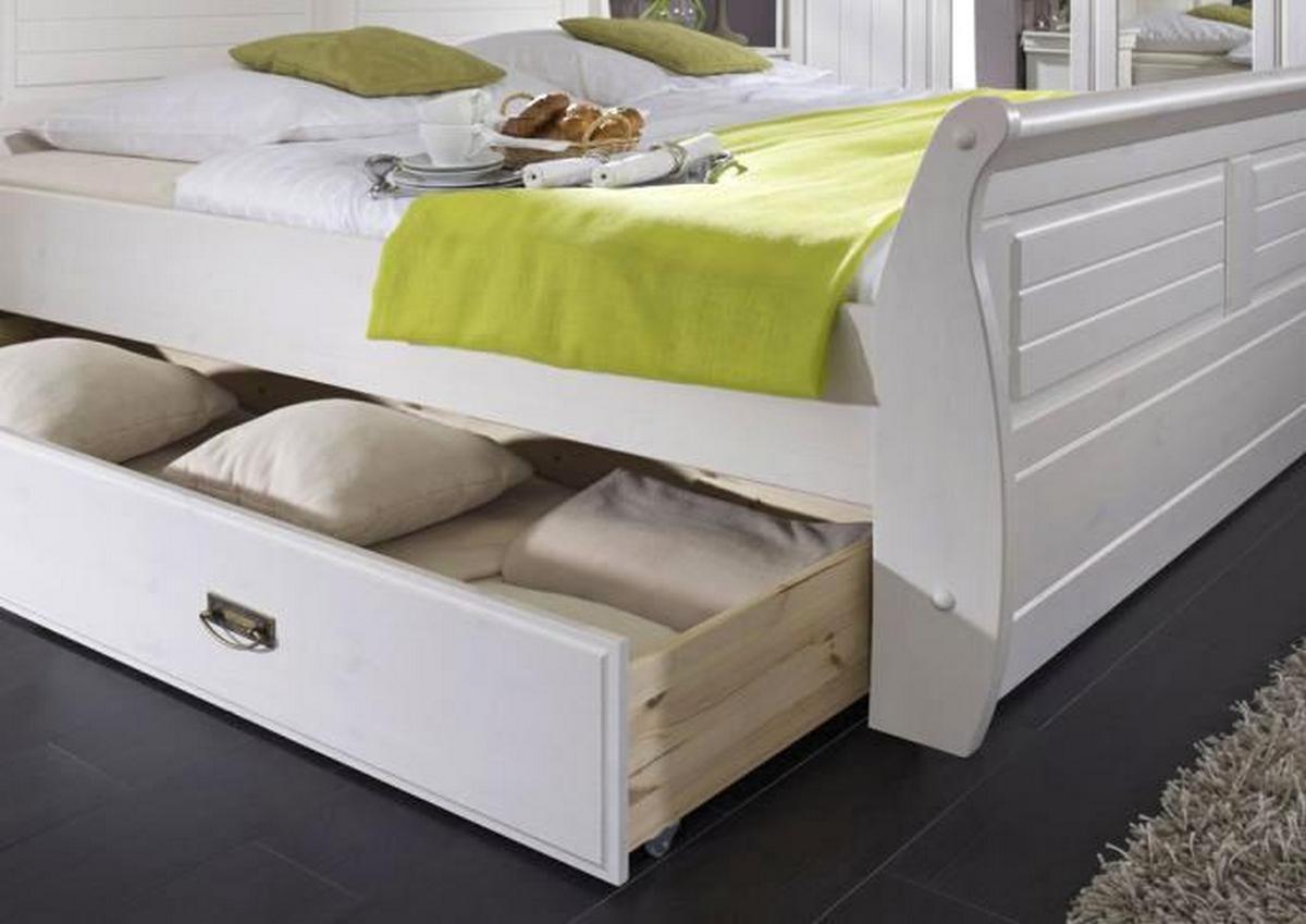 Massivholz Bett Mit Schubladen Kiefer Massiv Wei 223