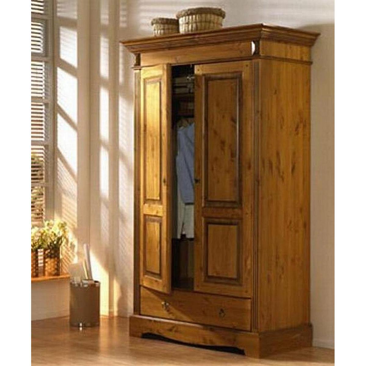 landhausstil 2 t rig holz kiefer massiv goldbraun lackiert. Black Bedroom Furniture Sets. Home Design Ideas