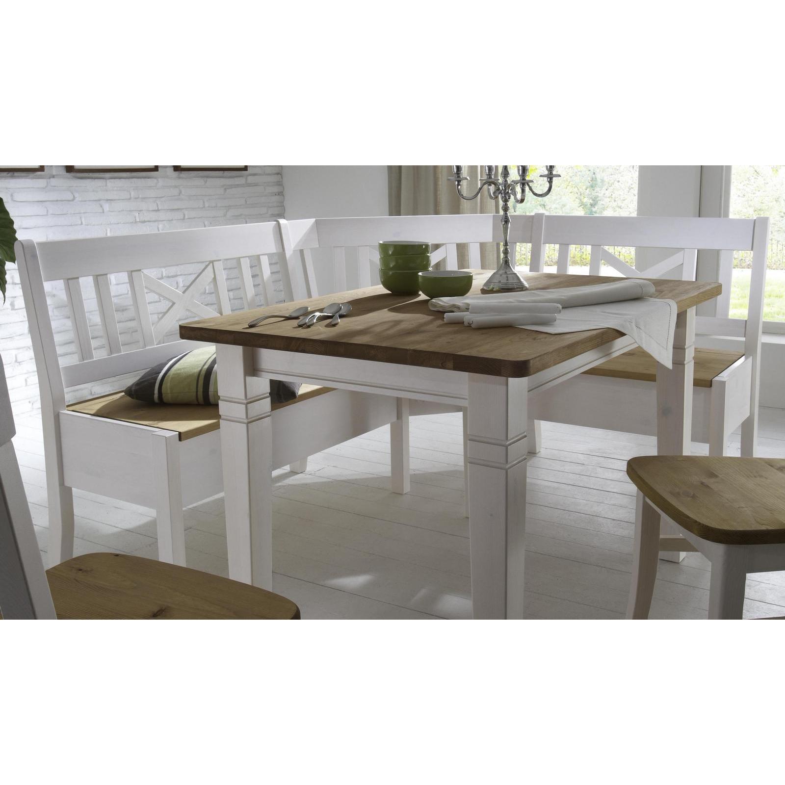 landhaus eckbankgruppe kiefer massiv 2 farbig wei. Black Bedroom Furniture Sets. Home Design Ideas