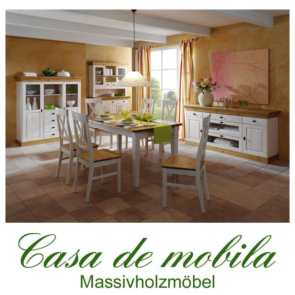 landhaus esszimmer komplett wei lackiert gebeizt ge lt 10. Black Bedroom Furniture Sets. Home Design Ideas