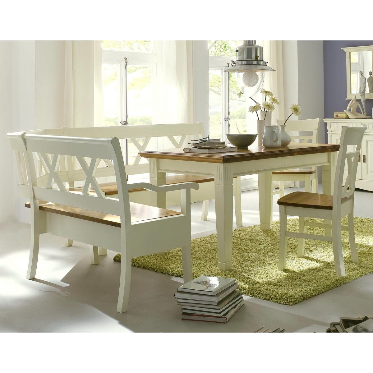 massivholz esszimmer komplett 4 teilig paris mit eckbank 2 farbig champagner goldbraun lackiert. Black Bedroom Furniture Sets. Home Design Ideas