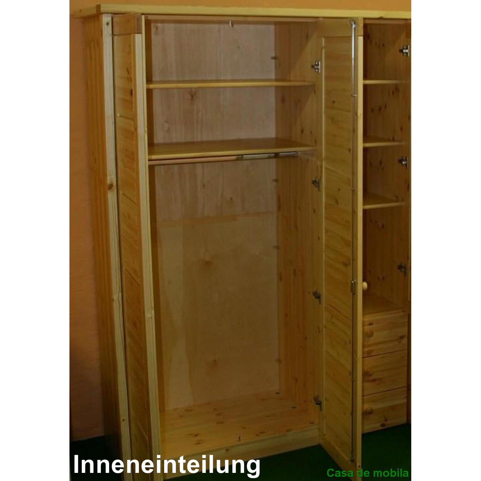 kleiderschrank 3 t rig holz kiefer massiv gelaugt ge lt rauna. Black Bedroom Furniture Sets. Home Design Ideas