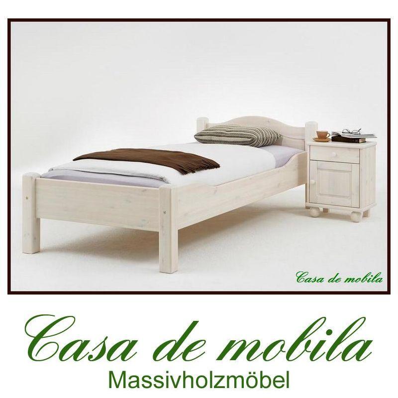 Doppelbett Bettgestell 120x200 Weiß Massivholz Weiss Kinderbett