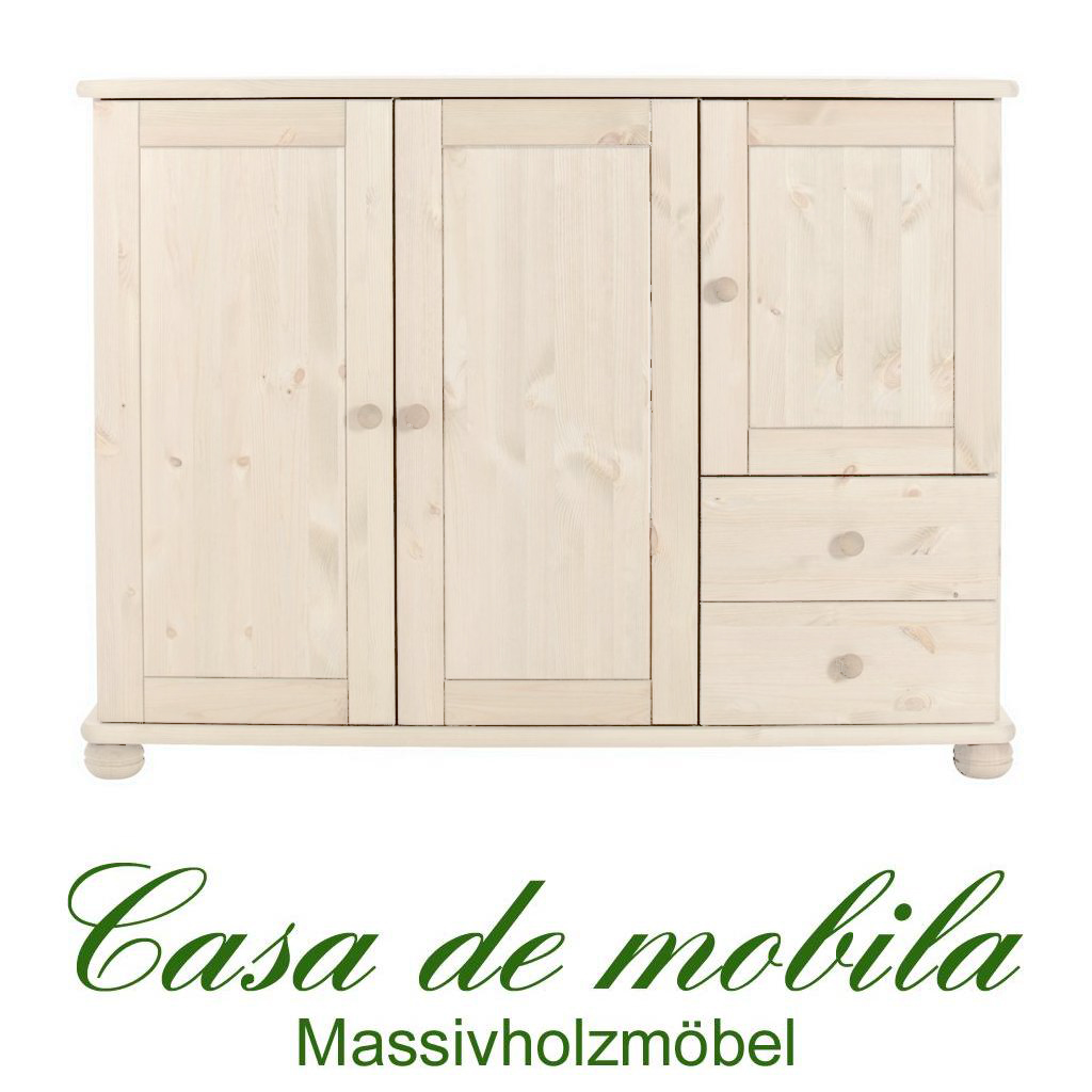 massivholz anrichte w scheschrank w schekommode schrank holz kiefer massiv wei ebay. Black Bedroom Furniture Sets. Home Design Ideas