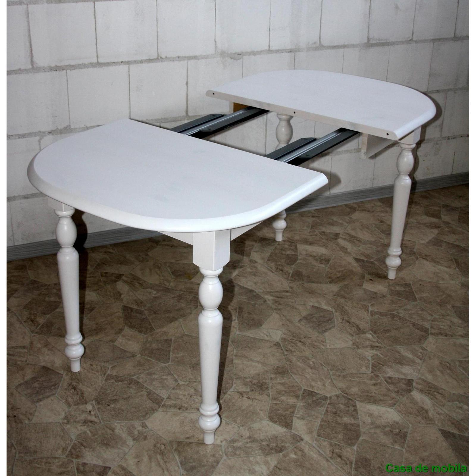 Esstisch Weiss Rund Ausziehbar Lasiert Tisch LANDHAUS 110x78 Mit Einlegeplatte
