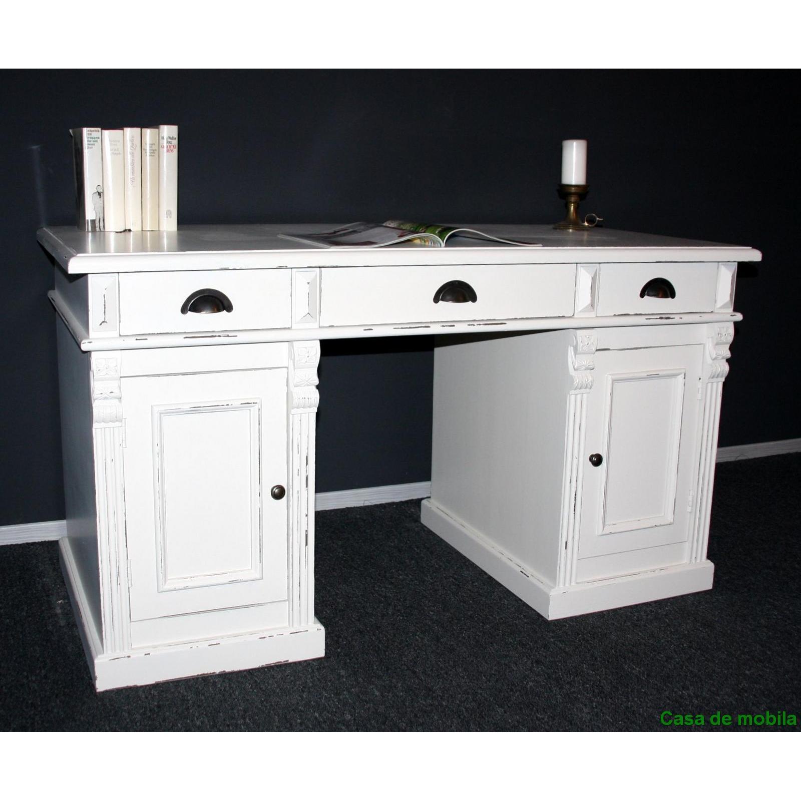 massivholz schreibtisch pc tisch shabby computertisch. Black Bedroom Furniture Sets. Home Design Ideas