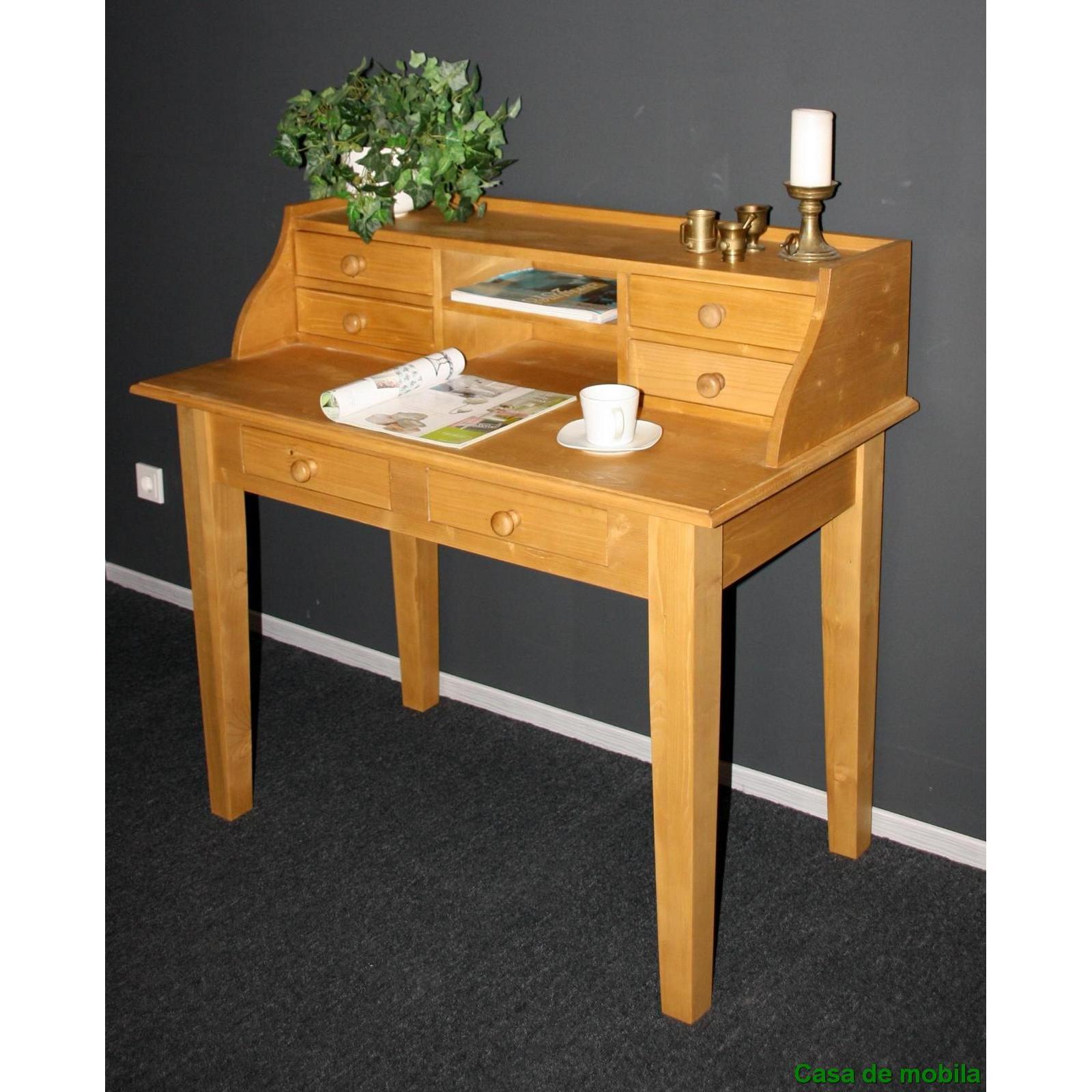 massivholz sekret r weichholz schreibtisch fichte massiv antik gewachst retro ebay. Black Bedroom Furniture Sets. Home Design Ideas
