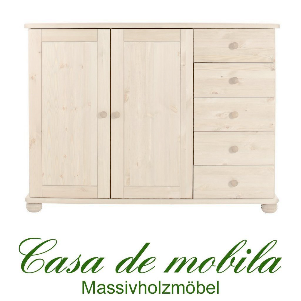 massivholz sideboard anrichte highboard holz kiefer massiv wei goslar kommode ebay. Black Bedroom Furniture Sets. Home Design Ideas