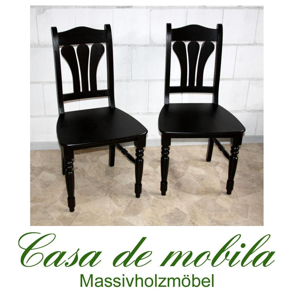Massivholz Stuhl Set Stühle kolonial Kiefer massiv lackiert LANDHAUS ...