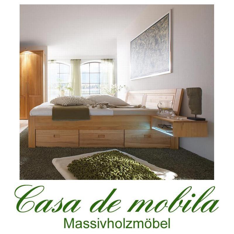 massivholz bett mit schubladen bett funktionsbett holz kernbuche massiv ge lt ebay. Black Bedroom Furniture Sets. Home Design Ideas