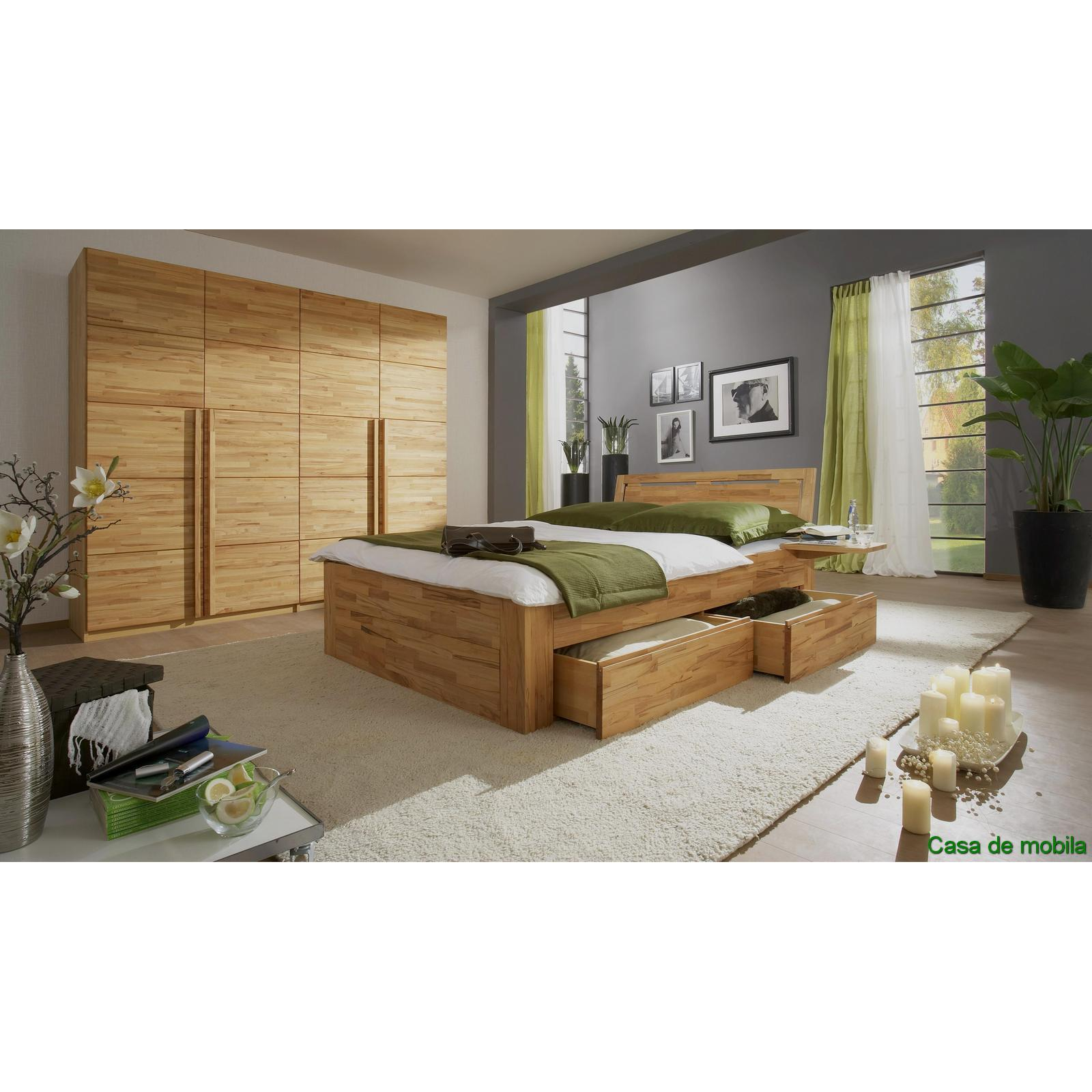 komplett kernbuche buche massiv caro mit schubladen bett 140x200. Black Bedroom Furniture Sets. Home Design Ideas