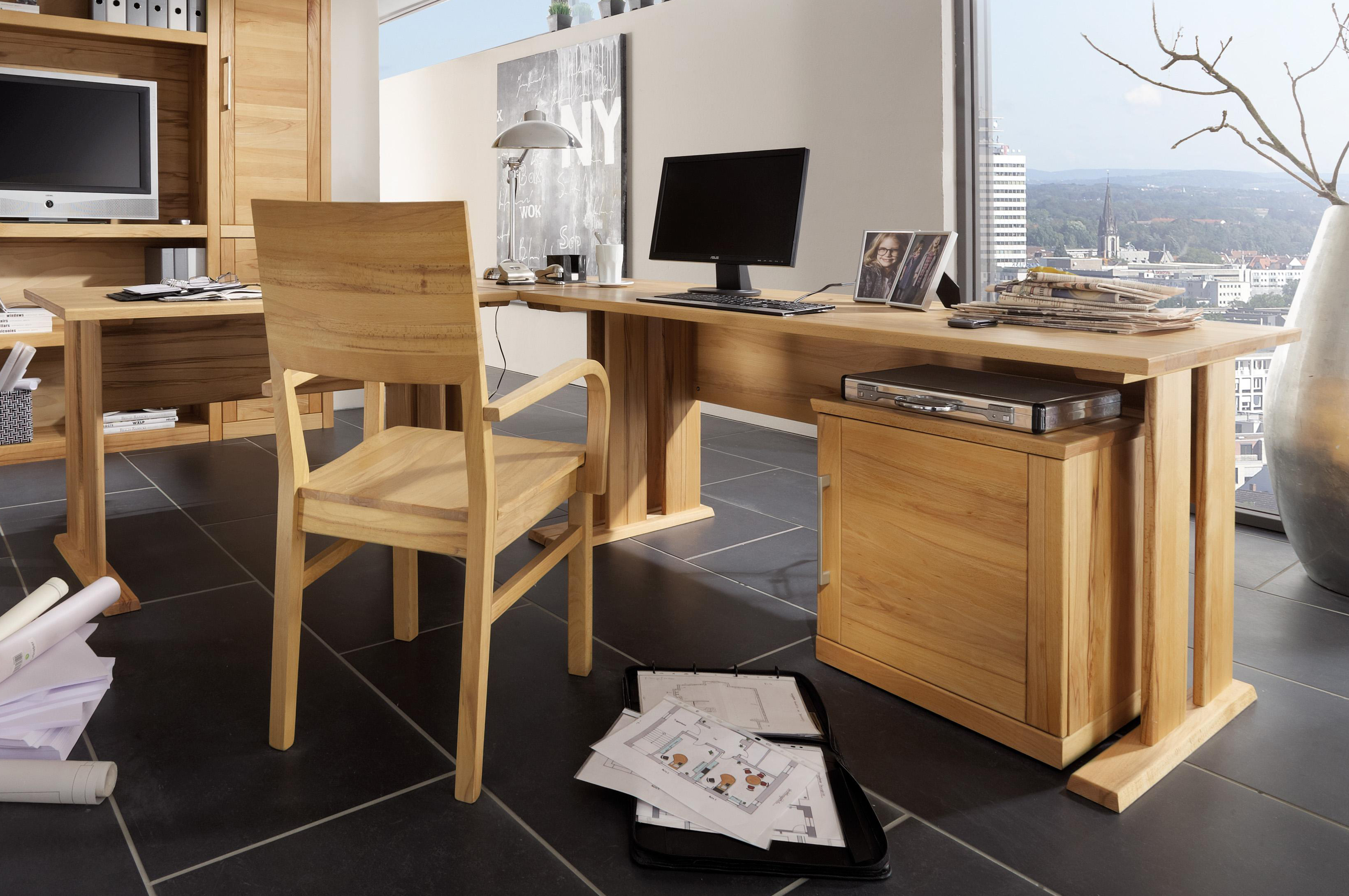 schreibtisch eckschreibtisch holz kernbuche massiv ge lt winkel computertisch ebay. Black Bedroom Furniture Sets. Home Design Ideas