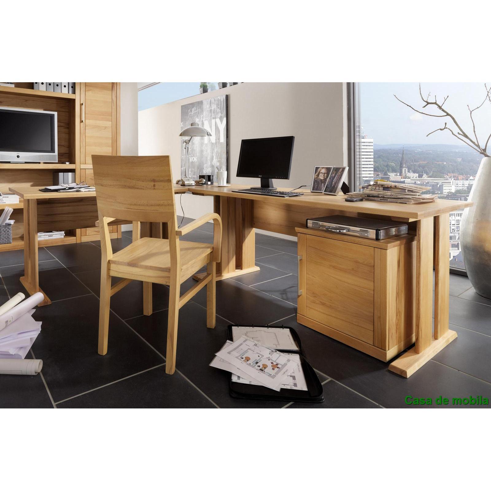 Schreibtisch eckschreibtisch holz kernbuche massiv ge lt for Schreibtisch abgerundet
