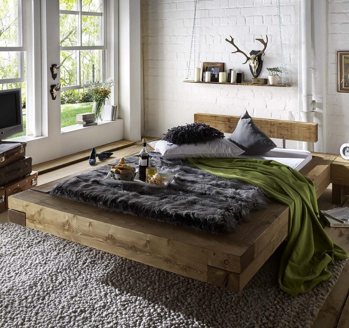 holzbett rustikal. Black Bedroom Furniture Sets. Home Design Ideas