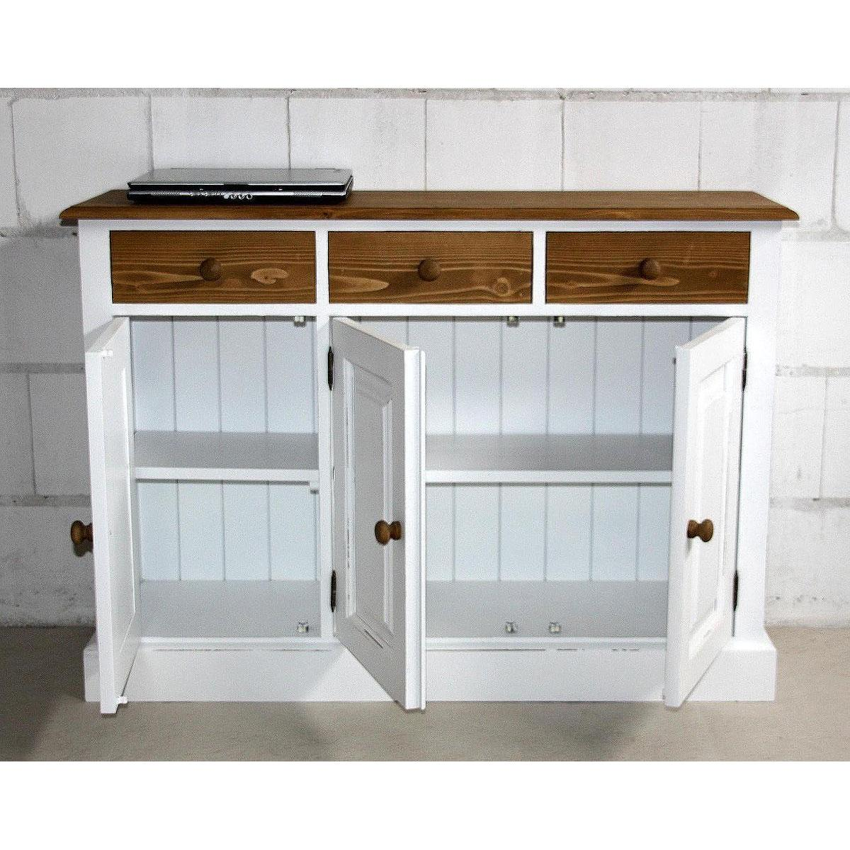 massivholz anrichte sideboard flur kommode schrank shabby antik wei holz massiv ebay. Black Bedroom Furniture Sets. Home Design Ideas