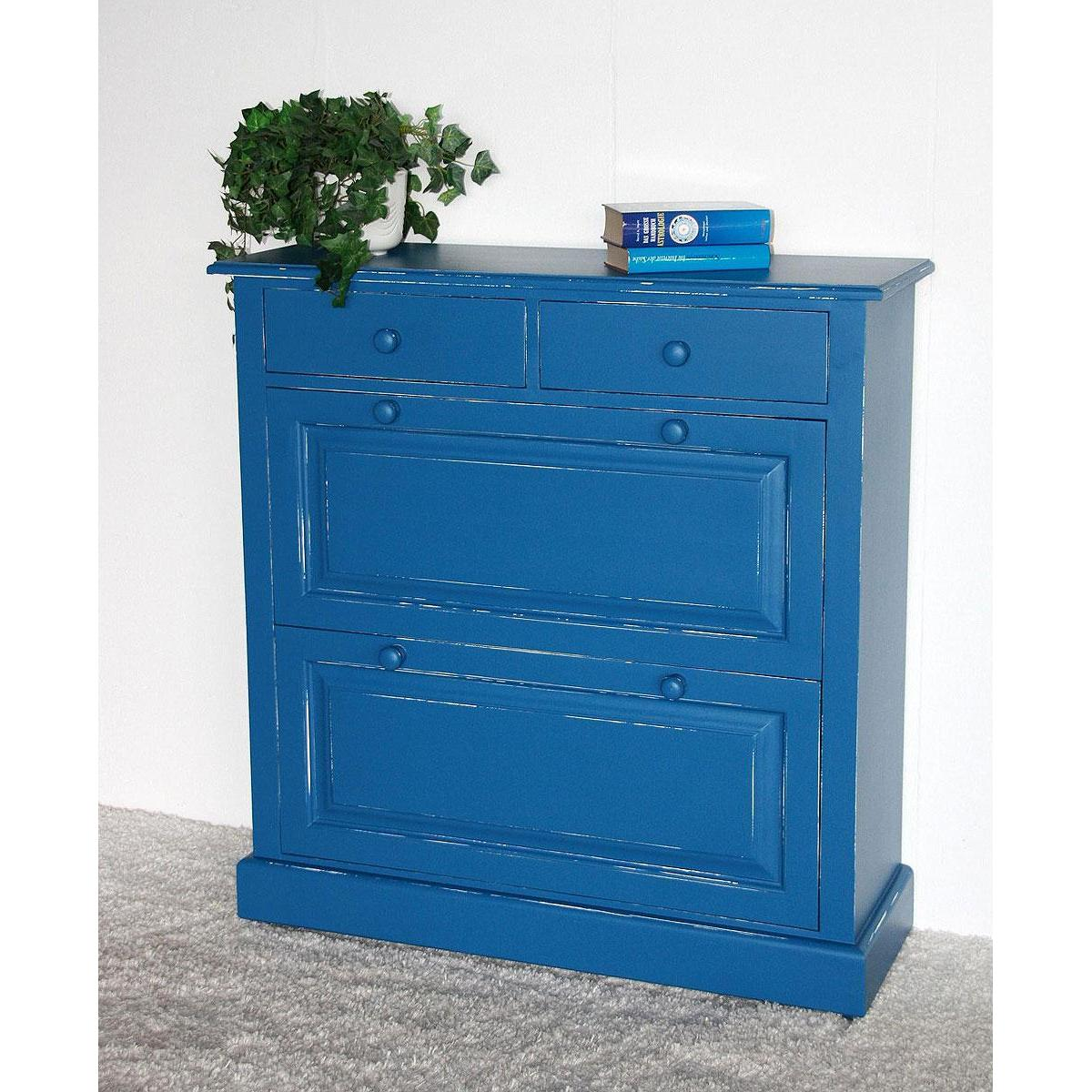 Massivholz Schuhkommode Schuhschrank Schuhkipper shabby blau holz ...