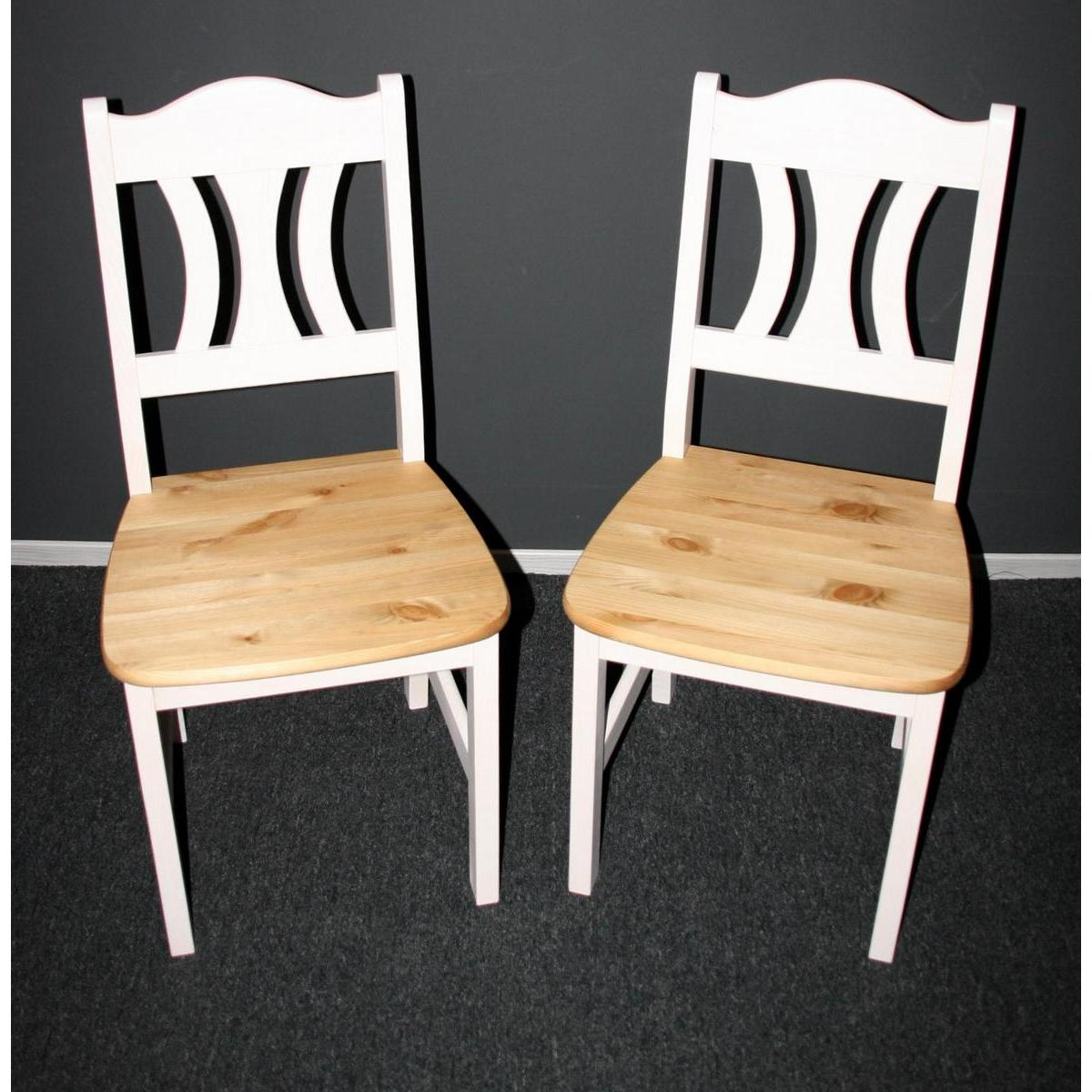 kuchenmobel vom hersteller : Massivholz Stuhl-Set KRISTEL - Kiefer massiv 2-farbig wei? lackiert ...