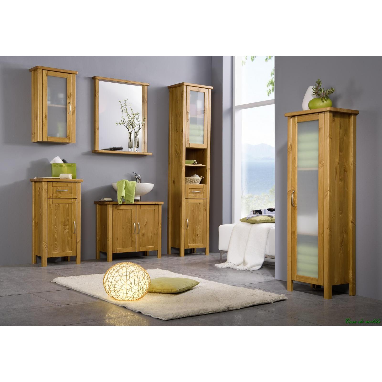 massivholz badschrank hochschrank bad m bel kiefer massiv honig lackiert venedig ebay. Black Bedroom Furniture Sets. Home Design Ideas