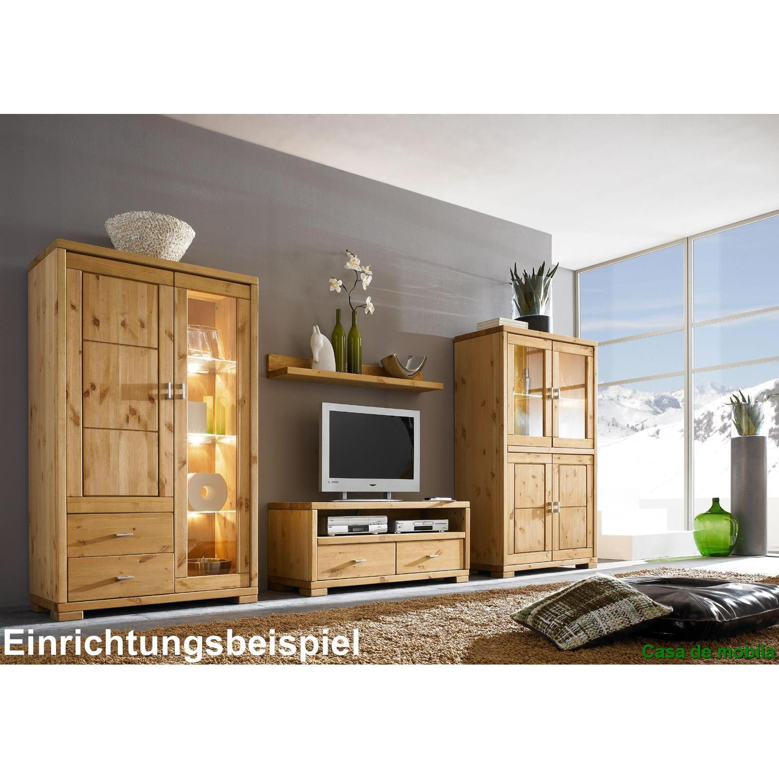 massivholz vitrine vitrinenschrank holz kiefer massiv. Black Bedroom Furniture Sets. Home Design Ideas
