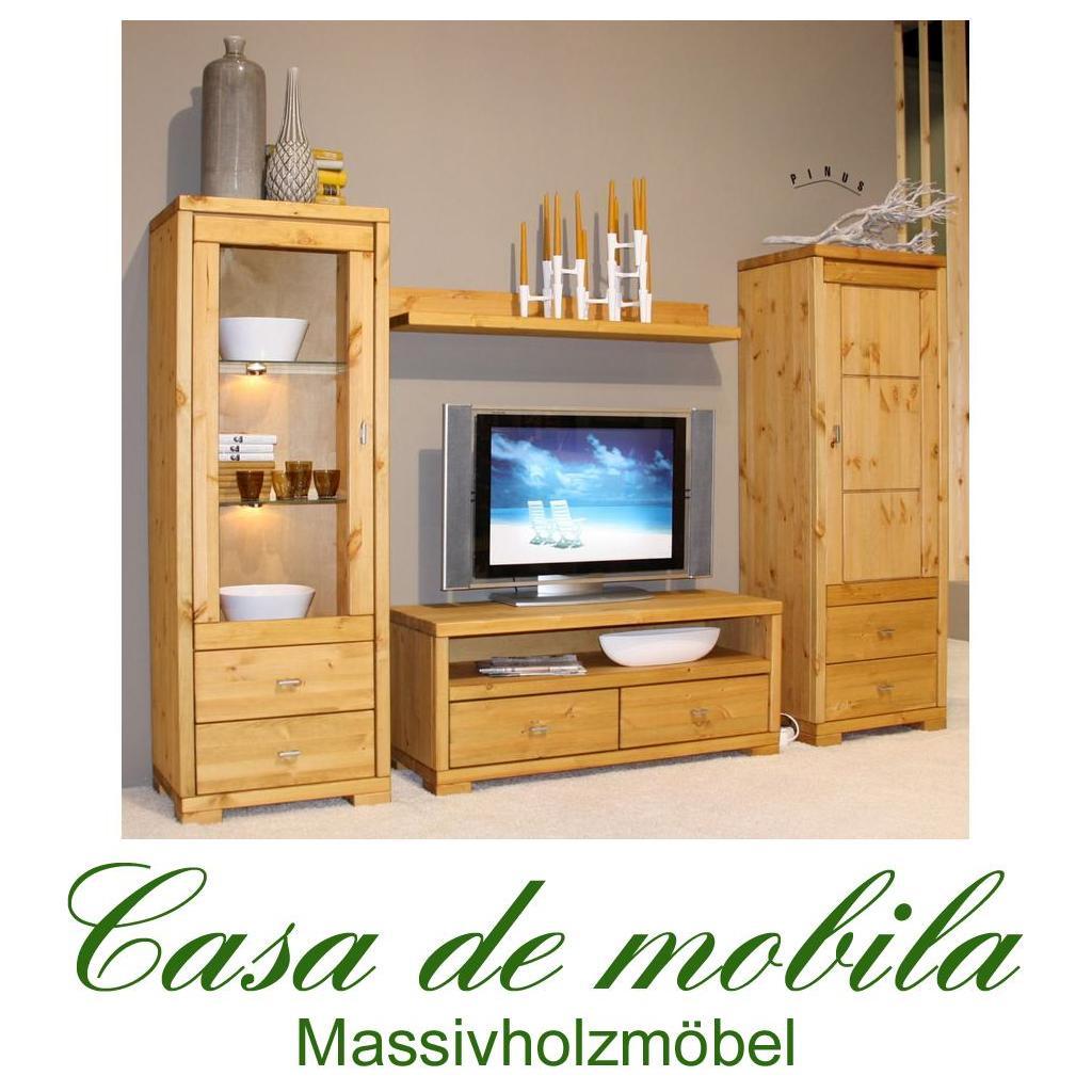 massivholz wohnwand kiefer massiv gebeizt ge lt guldborg 4 teilig schrankwand ebay. Black Bedroom Furniture Sets. Home Design Ideas