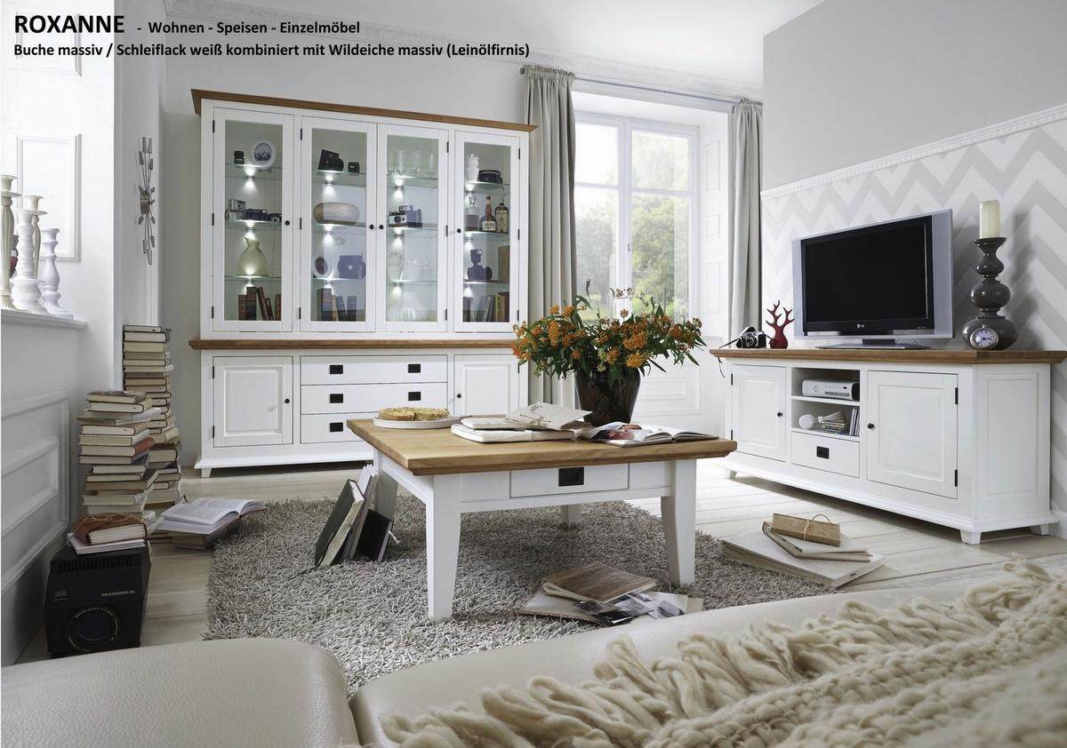 vitrinenschrank wohnzimmerschrank landhaus wei wildeiche bei casademobila. Black Bedroom Furniture Sets. Home Design Ideas