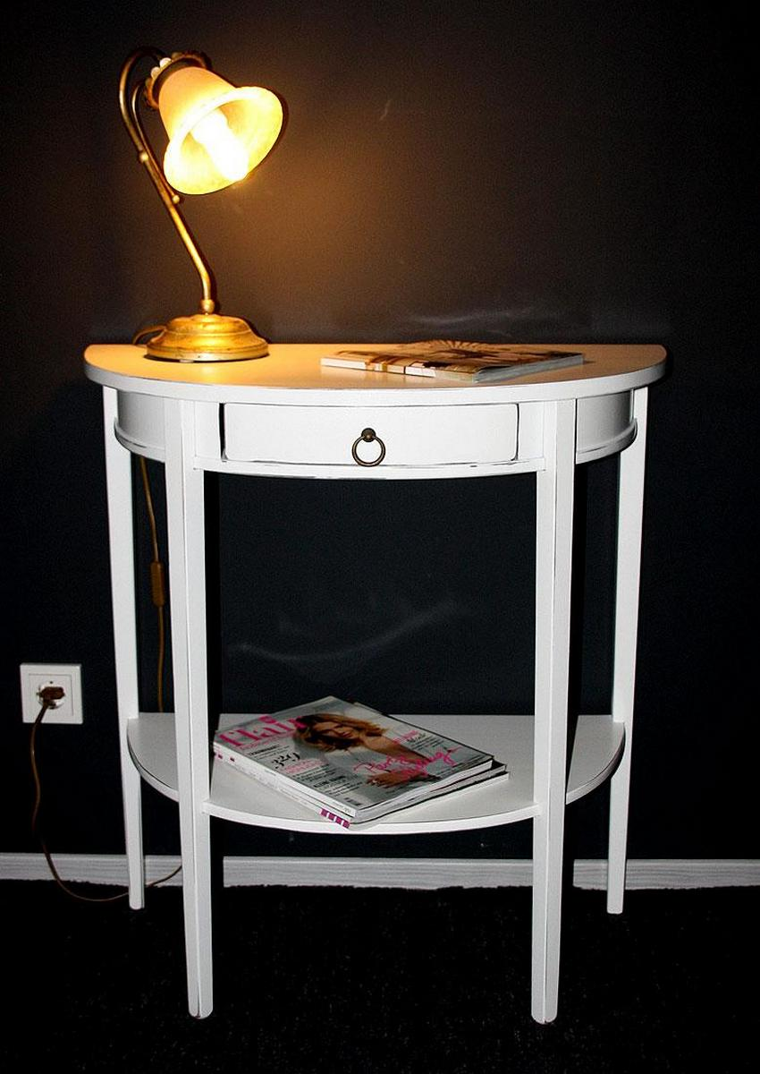 konsolentisch konsole halbrund wei antik lackiert shabby chic. Black Bedroom Furniture Sets. Home Design Ideas